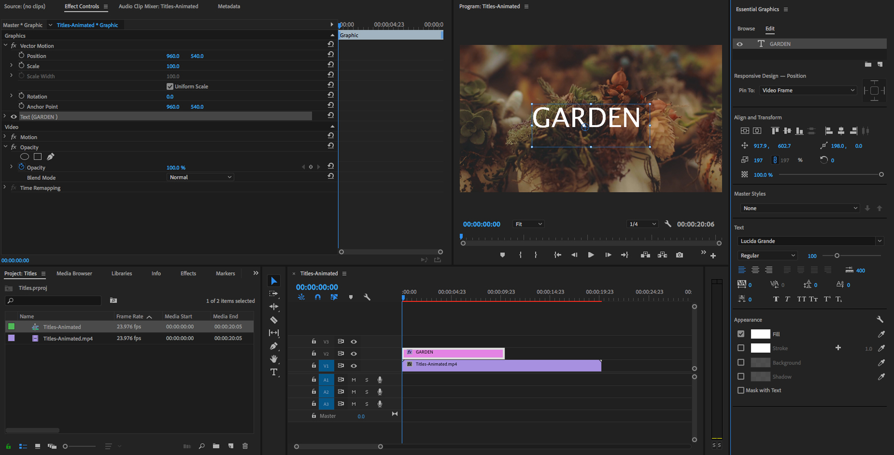 Editing video titles in Premiere Pro